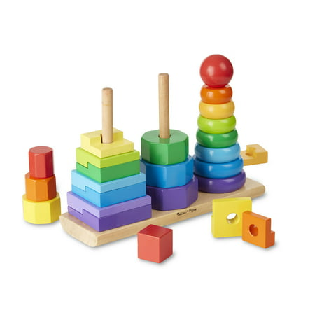 Melissa & Doug Geometric Stacker Toddler Toy (Developmental Toys, Rings, Octagons, and Rectangles, 25 Colorful Wooden -