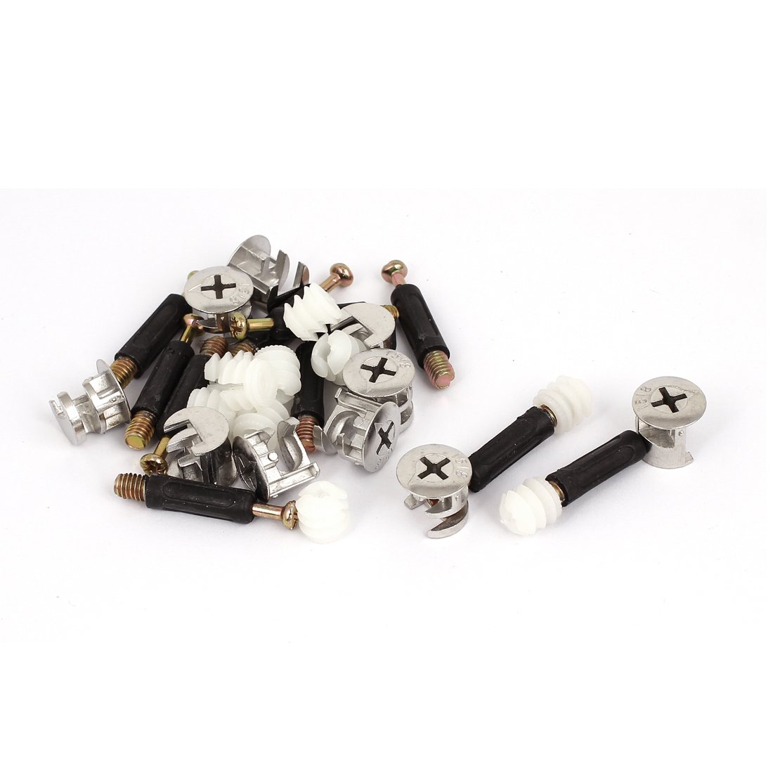 Unique Bargains 10 Sets Furniture Connector 15mm Cam Fittings + Pre-inserted Nuts + Dowels