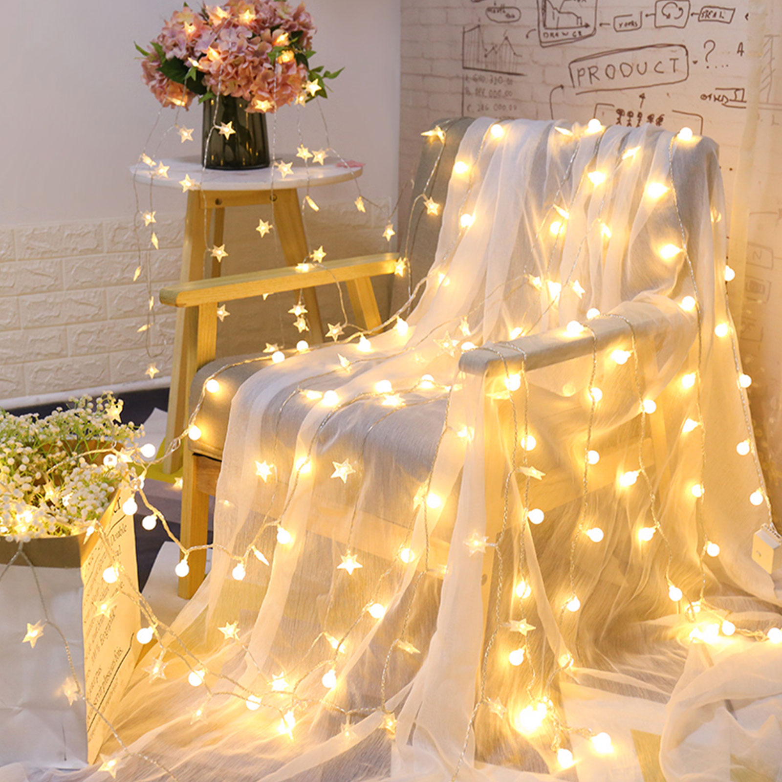 Battery operated warm white string lights