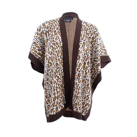 Sutton Studio Women's Leopard Poncho Merino Wool Wrap Misses (Brown) (Wool Poncho For Women)