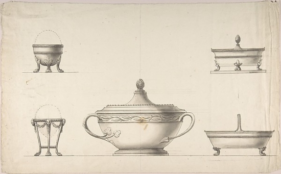 Covered Dish Two Egg Cups and Two Salt Cellars Poster Print by Anonymous Italian 19th century (18 x 24) by Public Domain Images