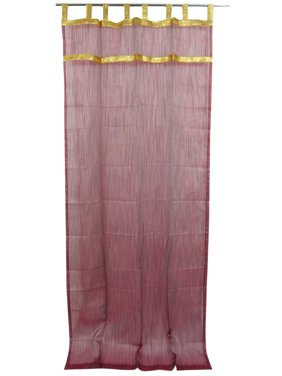 "Mogul 2 Indian Curtains Golden Lace Stripes Sheer Window Drapes Panels 48""x108"""