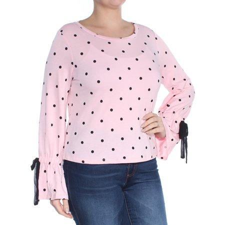 MAISON JULES Womens Pink Polka-dot Long Sleeve Scoop Neck Sweater  Size: L