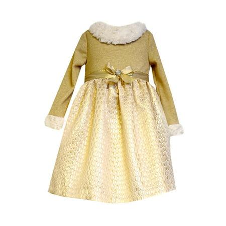 - Bonnie Jean Little Girls Gold Knit Fur Trim Dress 2T - 6X 2T