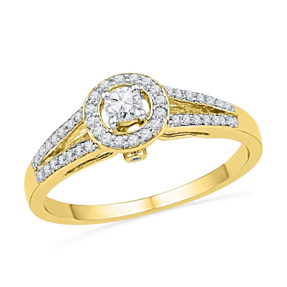 10kt Yellow Gold Womens Round Diamond Solitaire Split-sha...