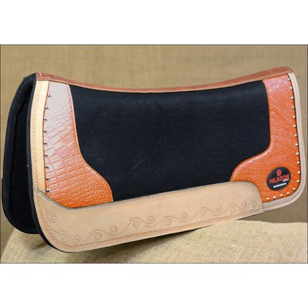 Impact Gel Western Saddle Pad - FP835-F HILASON WESTERN WOOL FELT GEL SADDLE PAD ORANGE ALLIGATOR PRINT LEATHER
