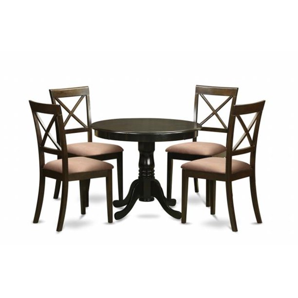 East West Furniture Anbo5 Cap C 5 Piece Small Kitchen Table And Chairs Set Round Table And 4 Chairs For Dining Room Walmart Com Walmart Com