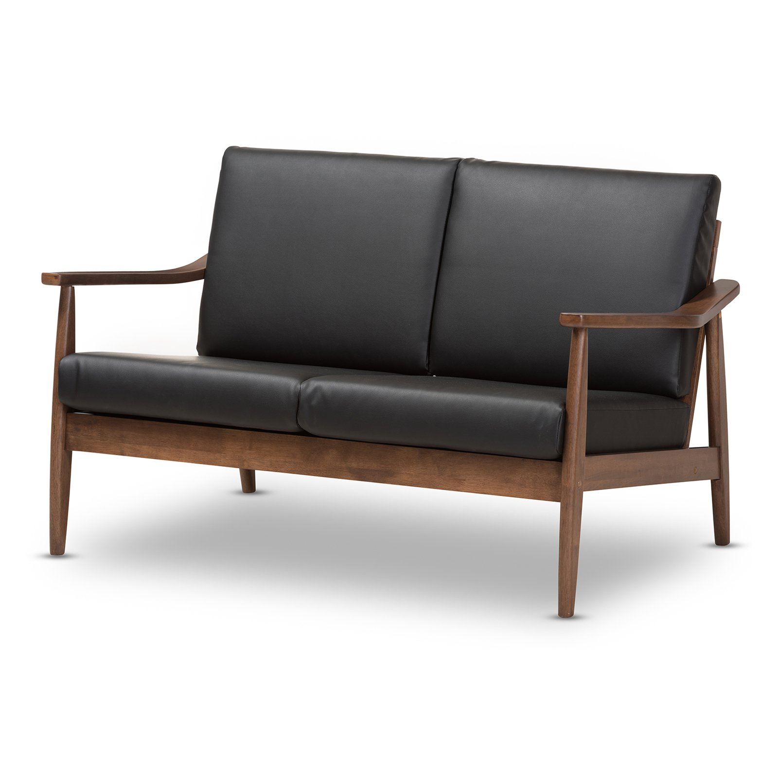 Baxton Studio Venza Mid-Century Modern Walnut Wood Black Faux Leather 2-Seater Loveseat