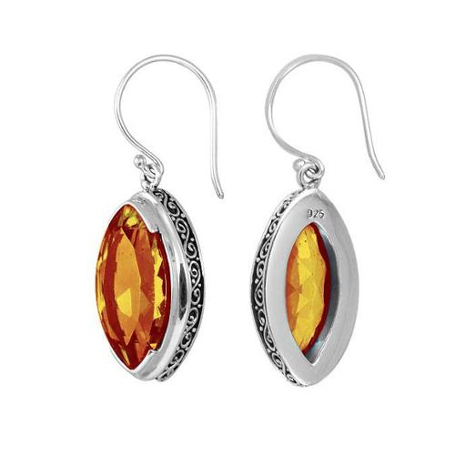 Sterling Arts Handmade Sterling Silver Bali Faceted Marquise Shape Citrine Earrings (Indonesia)