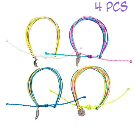 FROG SAC Friendship String Bracelets for Women Men Kids 4 PCs Pack - Handmade Braided Rope Bracelet Set with Silver Charms   Multilayer Waterproof Wax Cord - Adjustable Slip Knot - Great Party Favors (Charm Bracelet For Child)