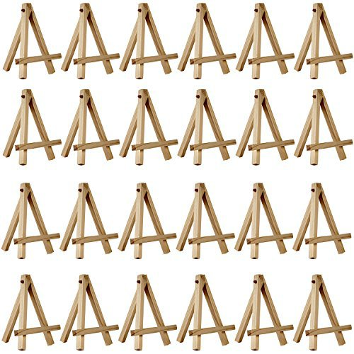 "24 Pack of US Art Supply® 5"" Mini Wood Display Easel Natural Wood Finish Picture"