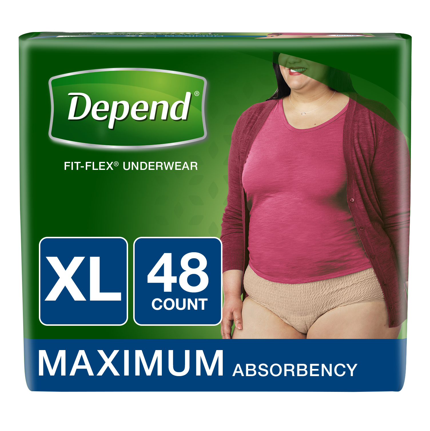 Depend FIT-FLEX Incontinence Underwear for Women, Maximum Absorbency, XL, 48 Ct