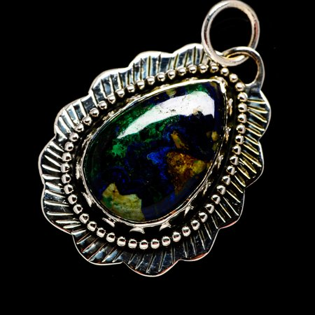 Malachite In Chrysocolla 925 Sterling Silver Pendant 1 3/4