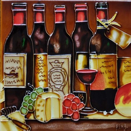 Continental Art Center 5 Wine Bottles Tile Wall Decor