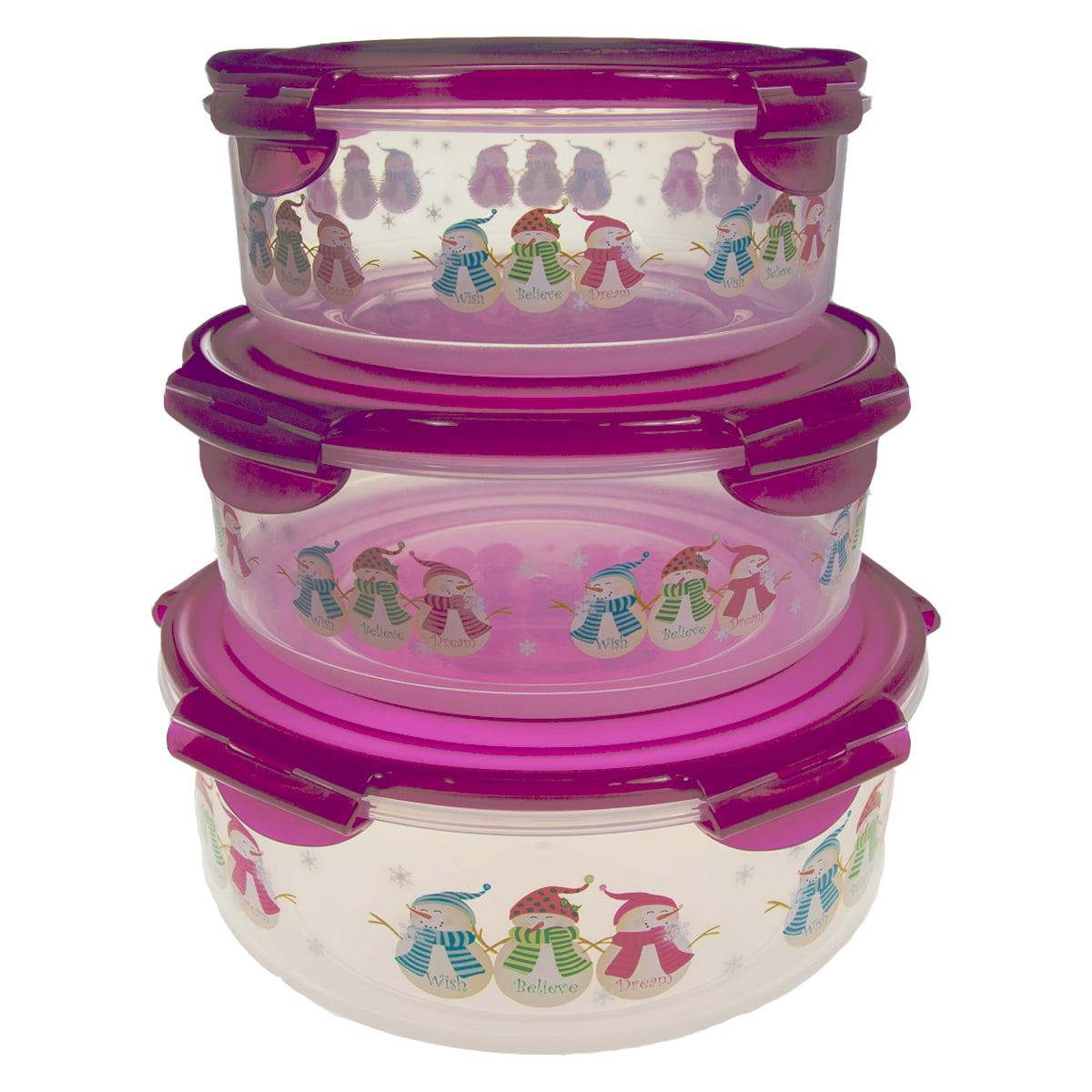 6pc Lock Lock Christmas Plastic Food Storage Containers Set