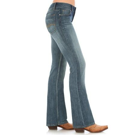 Indigo Striped Jeans - Wrangler Women's Indigo Mid-Rise Jeans Boot Cut - 09Mwzah