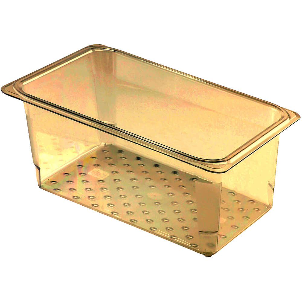 """Cambro High Heat Perforated Pan / Colander, 1/3 GN, 5"""" Deep, 6PK, Amber, 35CLRHP-150"""
