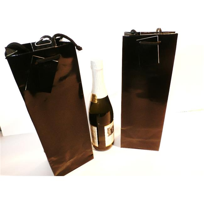 Excelco 1869084 Black Bottle Gift Bags - High Gloss - Case of 48