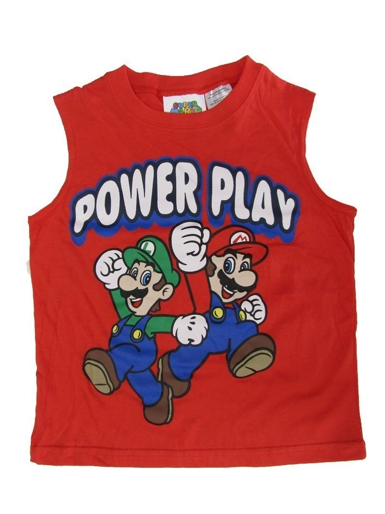 "Super Mario Little Boys Red ""Power Play"" Printed Sleeveless Shirt"