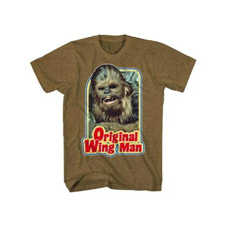 Star Wars Chewbacca Original Wing Man Mens Heather Brown T-Shirt | (Brown Brown Male)