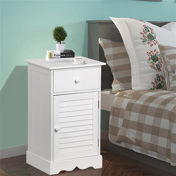 Yaheetech Bedside Table Cabinets Nightstands with Storage Drawer and Cupboard Units Adjustable Height Shelf in White