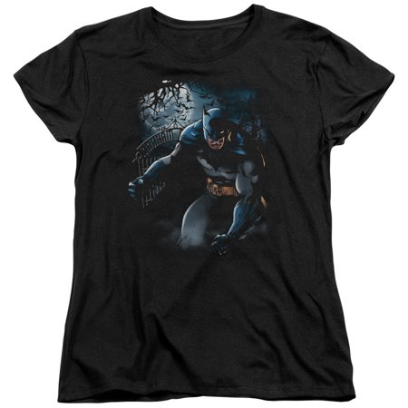 Batman Light Of The Moon   S S Womens Tee   Black   Sm