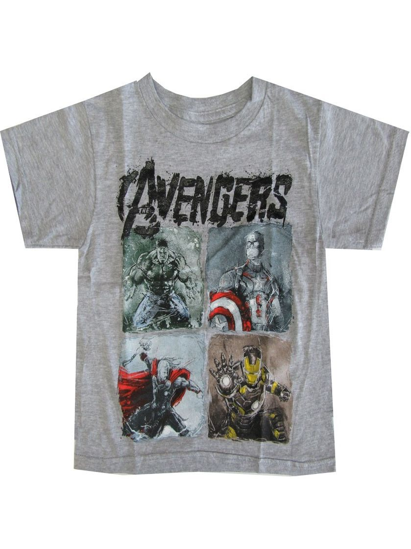 Marvel Little Boys Light Grey Avengers Character Graphic Print T-Shirt