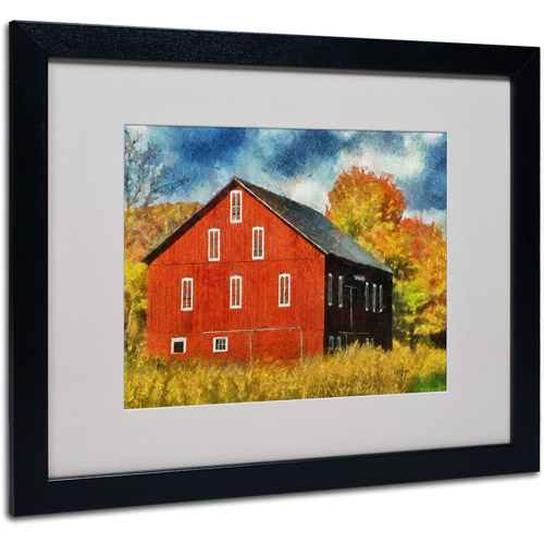 "Trademark Fine Art ""Red Barn In Autumn"" by Lois Bryan, Black Frame"