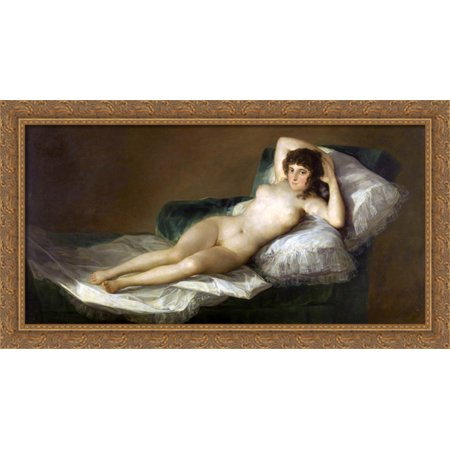 Nude Maja 40x22 Large Gold Ornate Wood Framed Canvas Art by Francisco (Nude Canvas Art)