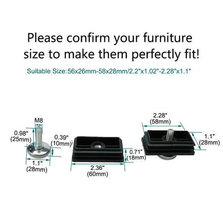 Leveling Feet 30 x 60mm Rectangle Tube Insert Adjustable Furniture Glide 4 Sets - image 1 de 7