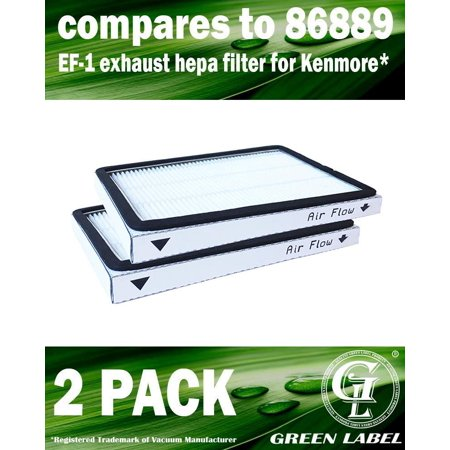 2 Pack for Kenmore EF-1 Exhaust HEPA Vacuum Filter (compares to 86889) and for Panasonic (compares to MC-V199H). Genuine Green Label Product.