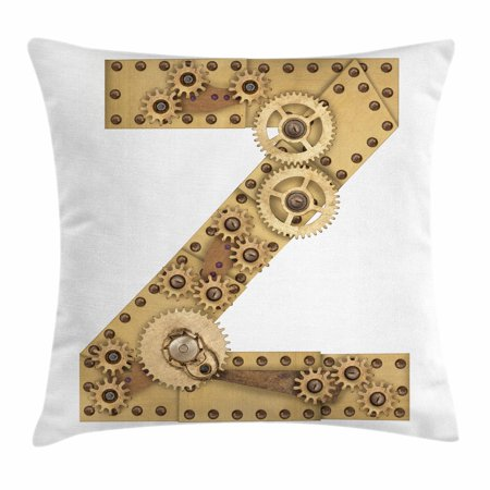 Letter Z Throw Pillow Cushion Cover  Mechanical Gears Capital Letter Z Fantastic Fictional Elements Industrialization  Decorative Square Accent Pillow Case  24 X 24 Inches  Sand Brown  By Ambesonne
