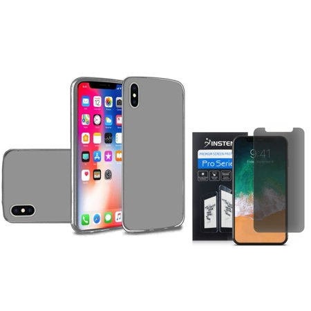 Insten TPU Gel Case Cover For Apple iPhone X 2017, Smoke (Combo with Anti Spy HD Screen Privacy Filter)