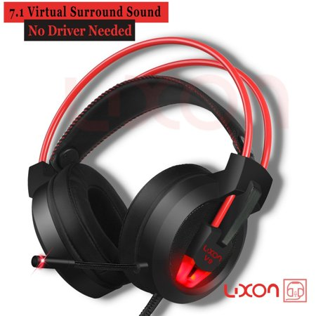 PC Gaming Headset with Mic Virtual 7.1 Surround Stereo Sound Headphone 50MM Loudhailer Gaming Headphones with LED Light Over Ear USB Headsets for PC / Mac / Laptop