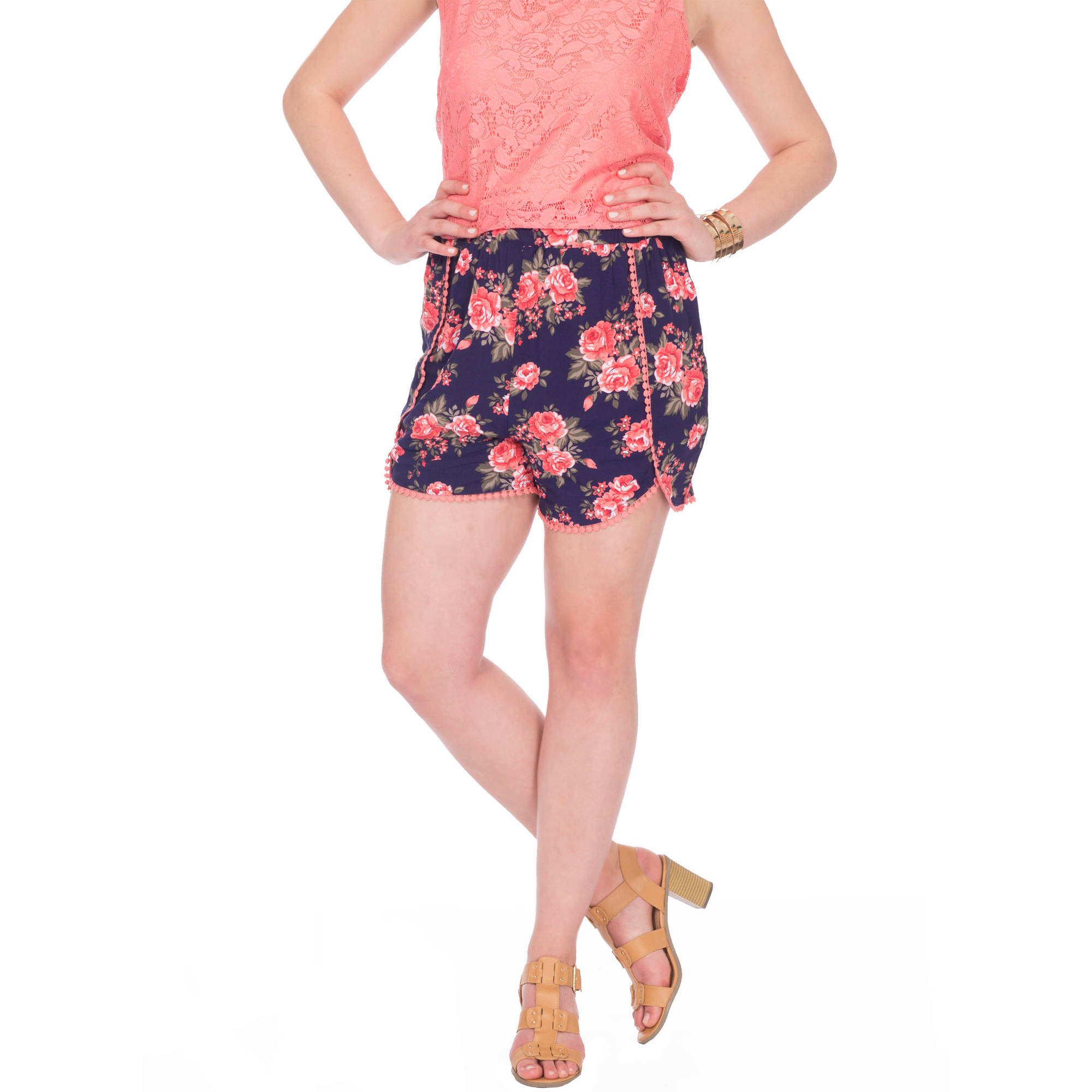 Plus Moda Women's  Floral Challis Soft Short