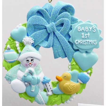 Baby Boys First Christmas Blue Wreath Christmas Tree Ornament Decoration New