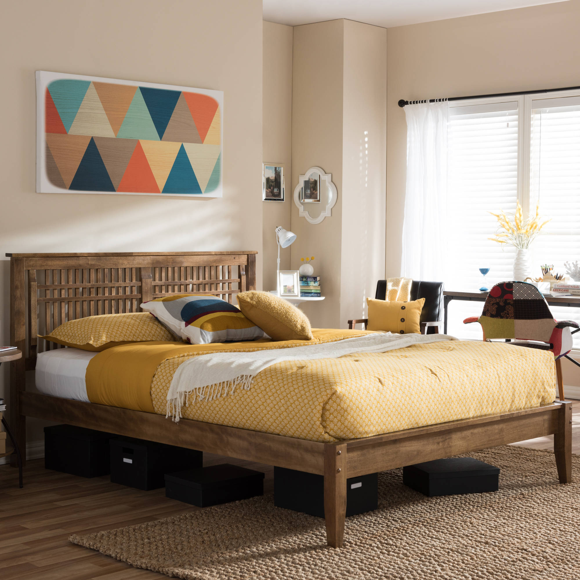 Baxton Studio Loafey Mid-Century Modern Window-Pane-Style Queen-Size Platform Bed, Solid Walnut Wood