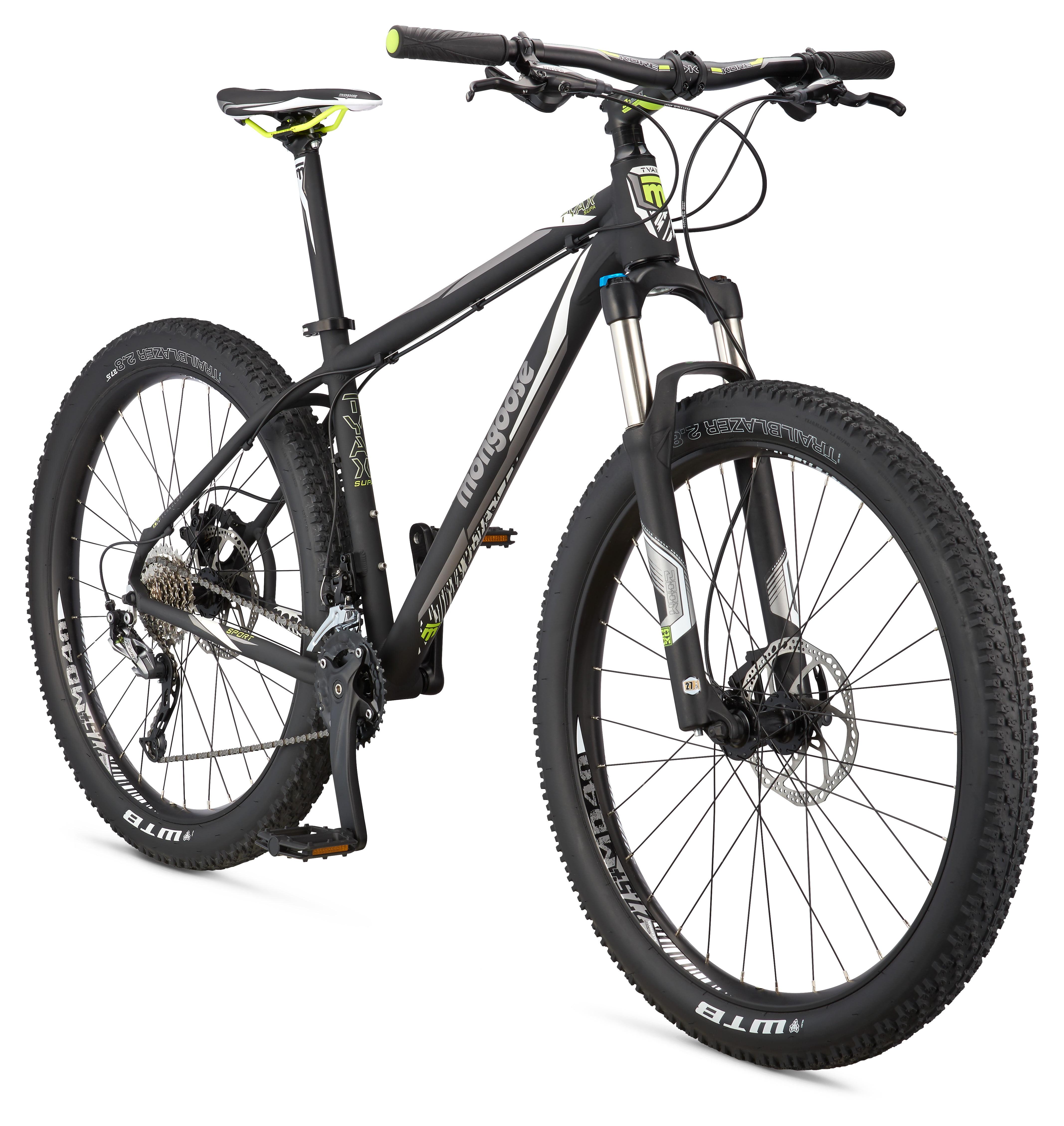 """Mongoose Tyax Supa Sport 27.5+"""" Men's Hardtail Mountain Bike, Black, Medium"""