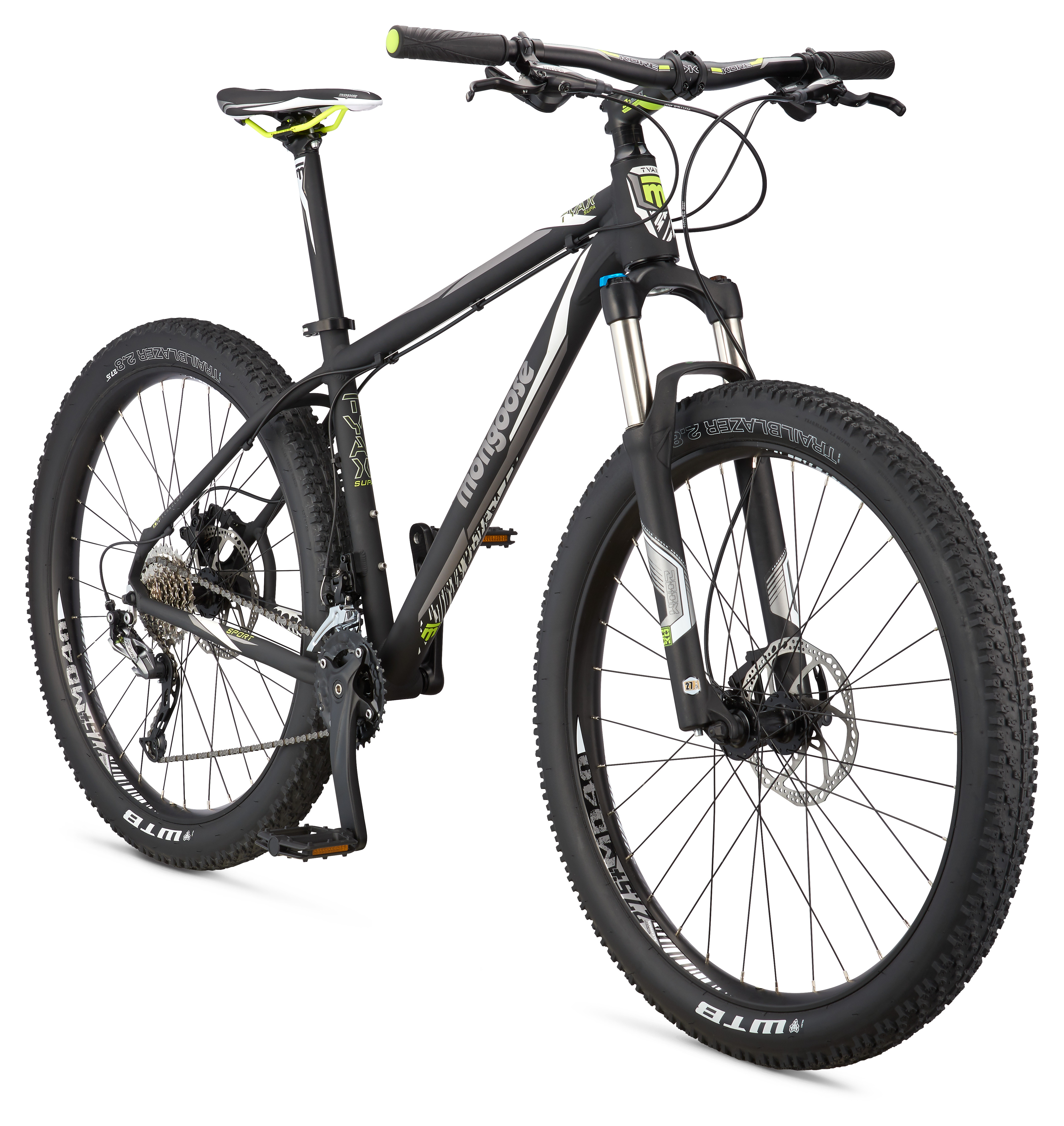 "Mongoose Tyax Supa Sport 27.5+"" Men's Hardtail Mountain Bike, Black, Medium"