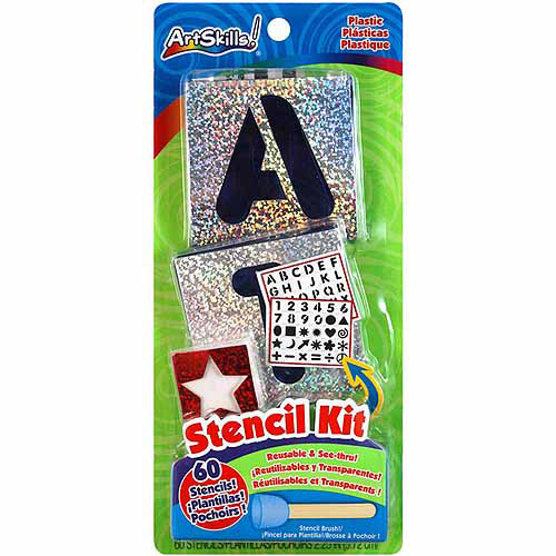 Artskills Letters, Numbers & Shapes Stencil Kit, 60 Reusable Stencils + Stencil Brush