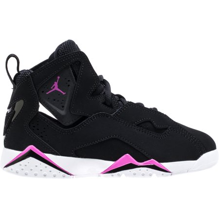 b3b85e58f84 Jordan - NIKE 342775-001   Girl s Jordan True Flight (PS) Basketball Shoe  Black Pink (2 M US Little Kid) - Walmart.com