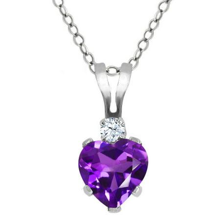 0.43 Ct Heart Shape Purple Amethyst White Topaz 925 Sterling Silver Pendant