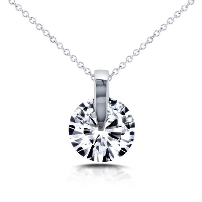 Harry Chad Enterprises HC10295 2 CT 14K White Gold Round Brilliant Cut Diamond Necklace Pendant - image 1 de 1