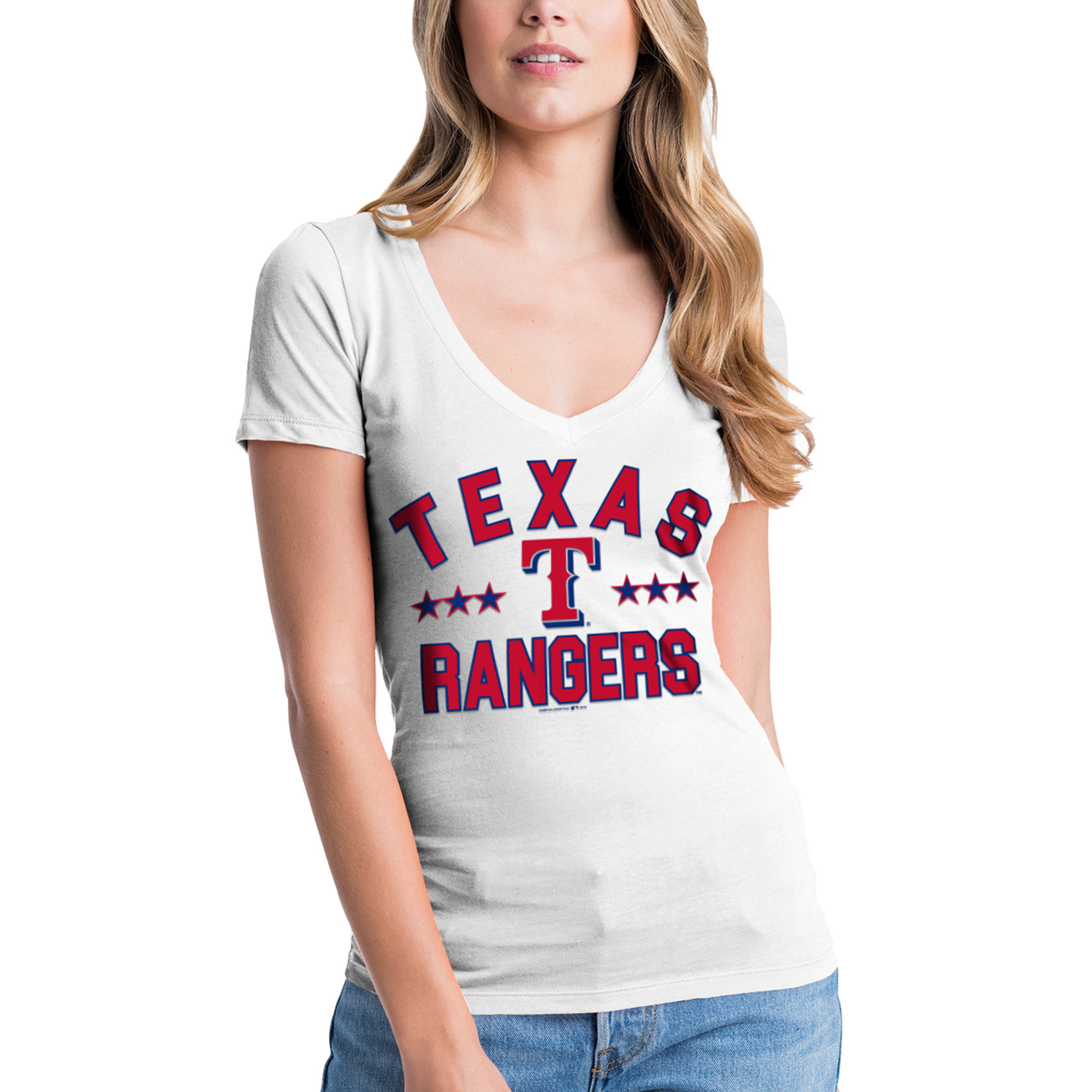 Women's New Era White Texas Rangers V-Neck Short Sleeve T-Shirt