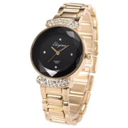 Lady Women Wrist Watch Quartz Gold Stainless Steel Crystal Dress Fashion Bracelet