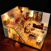 DIY Loft Apartments Dollhouse Wooden Furniture LED Kit Miniature Dollhouse Model Puzzle Game Kit Toy Birthday Gifts Home Decoration Fun