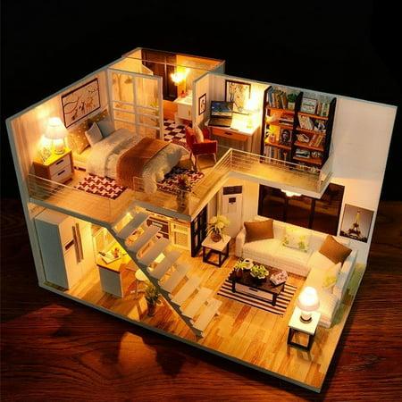 Mrosaa Dollhouse Miniature with Furniture, DIY Dollhouse Kit 3D Handcraft Toy Children Kids Gift ()