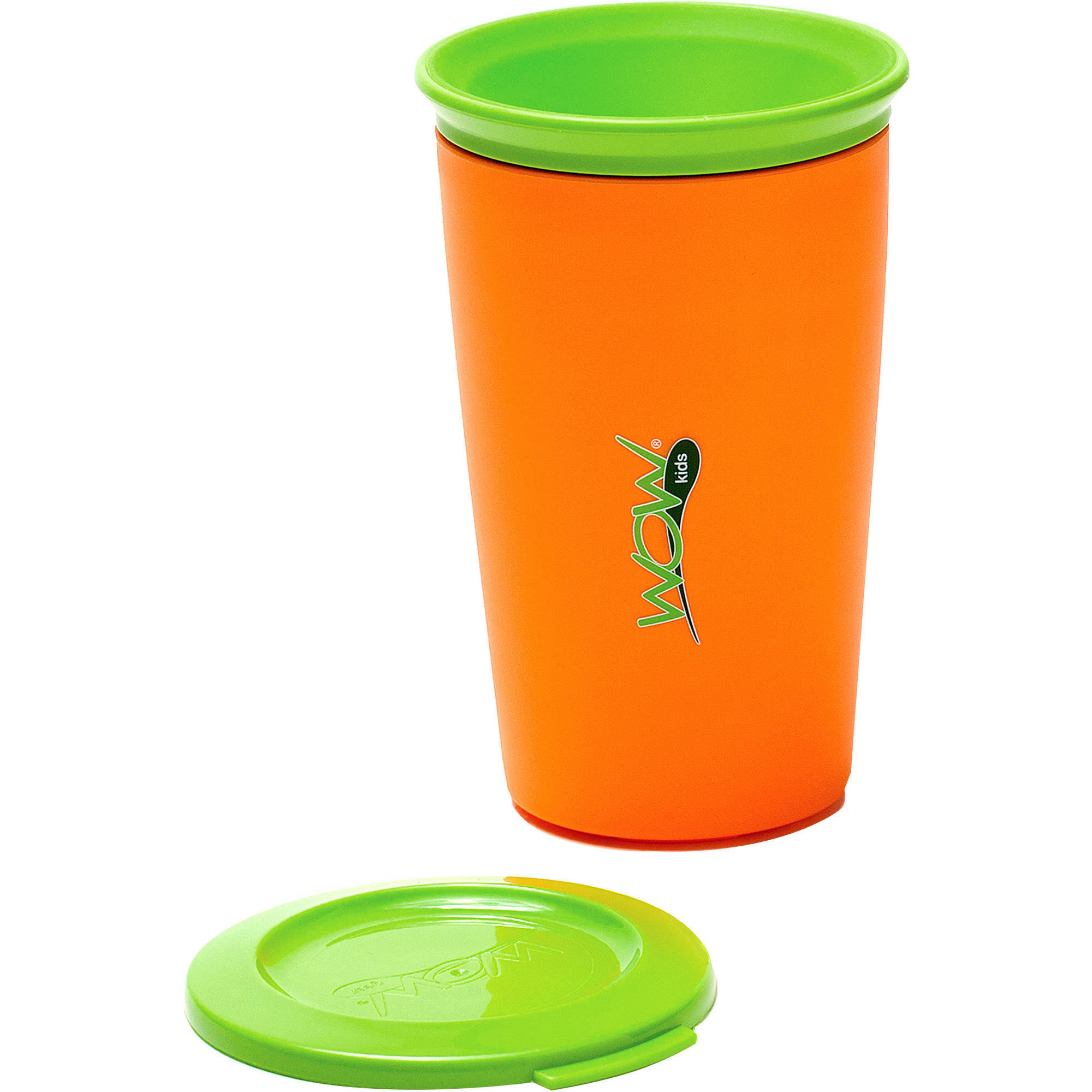 WOW Gear WOW Cup for Kids 360 Spill-Free Cup, Orange/Green