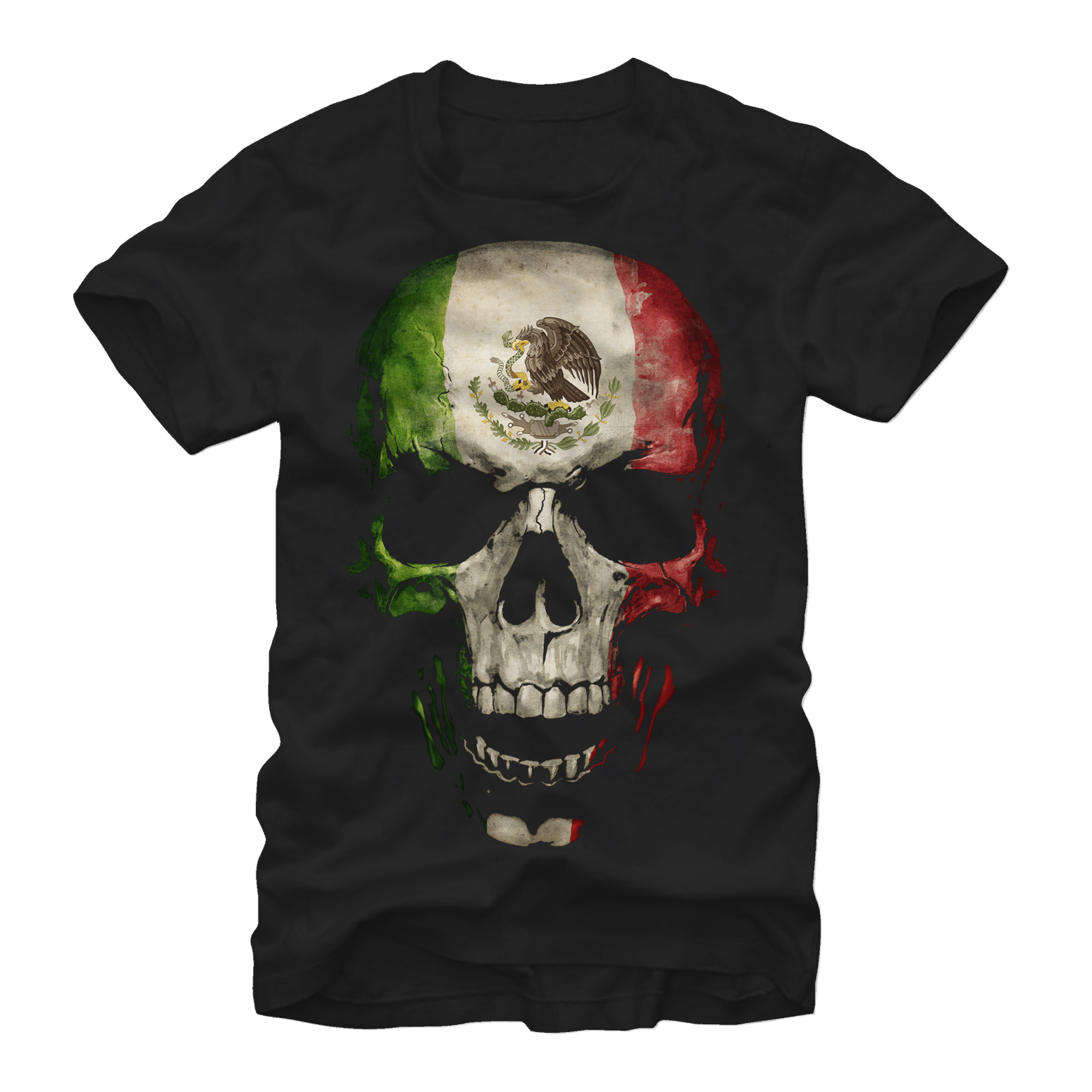 Aztlan Mexican Flag Skull Mens Graphic T Shirt by Fifth Sun