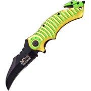 SPRING-ASSIST FOLDING POCKET KNIFE Green Yellow Mtech Black Hawkbill Blade Tac